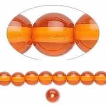 1 Strand Czech Glass Druk Transparent Orange Round Beads ~ 6mm