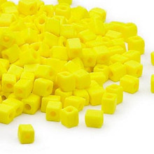 25 Grams Miyuki Opaque Frost Yellow 3.5-3.7mm Square Glass Seed Beads (SB404F) *