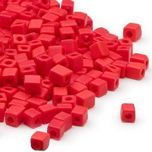 25 Grams Miyuki Opaque Frost Red Square Glass Seed Beads (SB407F) *
