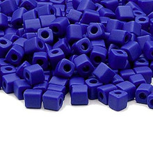 25 Grams Miyuki Opaque Frost Cobalt Blue 3.5-3.7mm Square Glass Seed Beads (SB414F) *