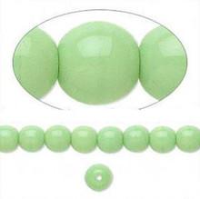 1 Strand Czech Glass Druk Opaque Green Round Beads ~ 6mm