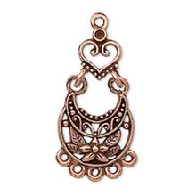 2 Pair Antiqued Copper Floral Teardrop with Heart Swinging Earrings