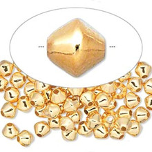 100 Gold Plated Brass Smooth Double Cone Beads ~ 6x6mm