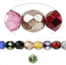 1 Strand Czech Fire Polished Faceted Round Glass Beads ~ 6mm ~ MIX