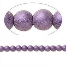 1 Strand Czech Glass Druk Opaque Satin Purple Round Beads ~ 6mm