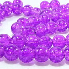 50 Fushia Pink 8mm Round Crystal Crackle Glass Beads *