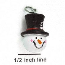 4 Resin Snowman with Snowflake Hat Charms ~ 3D CUTE