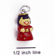 4 Resin Angel with Star Red Dress Charms ~ 3 Dimensional CUTE