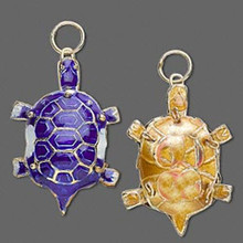 2 Gold Plated Dark Blue Turtle Cloisonne Charms ~   *