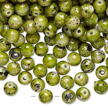 800 Green with Gold/Silver/Black Speckles Round Acrylic Beads ~ 6mm