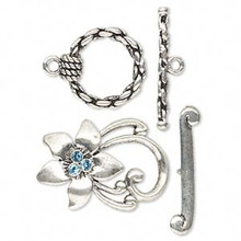 2 Antiqued Pewter Toggle Clasps with Aqua Blue Swarovski Crystals *