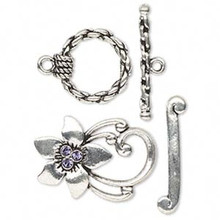2 Antiqued Pewter Toggle Clasps with Tanzanite Swarovski Crystals *