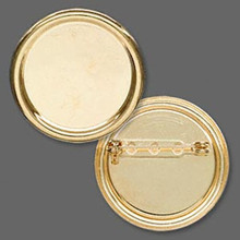 2 Gold Plated Steel 35mm Round Pin Back with 28mm Setting