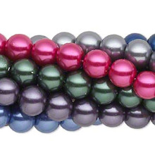 Eight 15 Inch Strands Multi Jewel Tones Round Glass Pearl Beads ~  8mm