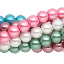 Eight 15 Inch Strands Multi Pastel Tones Round Glass Pearl Beads ~  8mm *