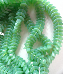 50 Opaque Milky Dark Peridot Angel Wings Glass Beads ~ 10x4x4mm