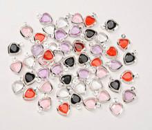 50 Small Acrylic Double Sided HEART Charm Mix ~ 9x12mm Hearts