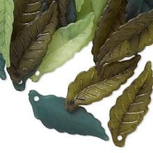 120 Acrylic Leaf Charm Mix ~ Olive, Green & Light Green ~26x10mm