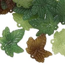 120 Acrylic Leaf Charm Mix ~ Olive, Green & Light Green ~ 20x20mm
