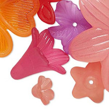 25 Grams Acrylic Flower Component Charm Mix ~ 12x12mm-48x48mm *