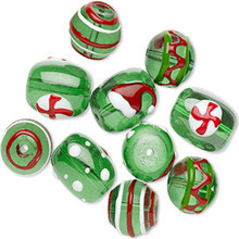10 Christmas Hand Painted Glass & Epoxy Bead Mix ~ Green & Multi-Colored
