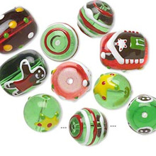 10 Christmas Hand Painted Glass & Epoxy Bead Mix ~ Green & Red