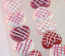 1 Strand Lampwork Glass Pinks & White Criss Cross 16x20x8mm Heart Beads *
