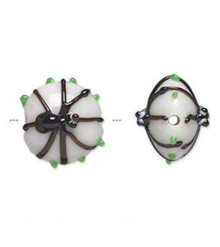 2 Lampwork Glass Opaque White & Black Spider Coin Beads ~ 15x13mm