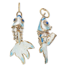 2 Gold Plated Light Blue & White Moving Fish Cloisonne Charms ~ 32x16mm  *