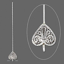 4 Antiqued Silver Plated 14x13mm Heart Head Pins ~ 3-3.5 Inches Long