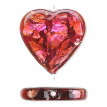 1 Czech Glass Red & Black With Silver Heart Focal Pendant Bead ~ 27x27mm *