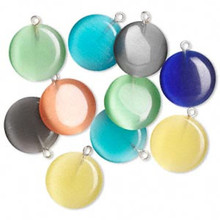 10 Cat's Eye Glass Round Charm Pendant Mix   ~ 20mm *