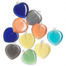 10 Cat's Eye Glass Heart Charm Pendant Mix   ~ 20x20mm *