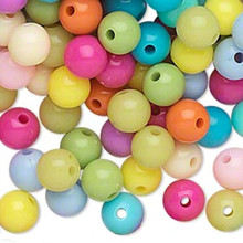 504 Acrylic Round 8mm Beads ~ Opaque Spring Color Mix