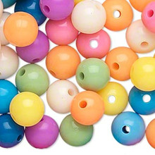 288 Acrylic Round 10mm Beads ~ Opaque Summer Color Mix
