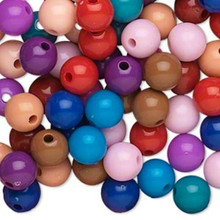 504 Acrylic Round 8mm Beads ~ Opaque Autumn Color Mix