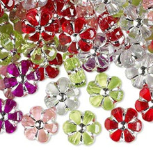 75 Grams Silver Accent 10mm Acrylic Flower Bead Light Mix