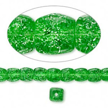 1 Strand Green Crackle Glass Square Cube Beads ~ 5x5mm-6x6mm  *