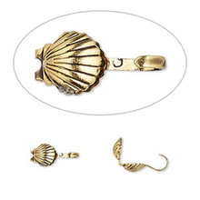 100 Antiqued Gold Plated  Brass 9x5mm Seashell Bead Tips ~ Hide Knots