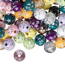 75 Grams Acrylic 8mm Round Beads with Stars ~ Assorted Colors