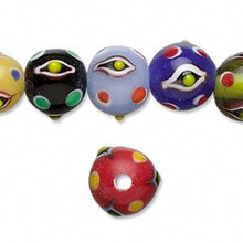 1 Strand Lampworked Glass Multi Color  Bumpy Evil EYE Beads ~ 12mm