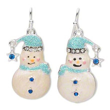 1 Pair Silver Finished Pewter Blue Sparkling Snowman Earrings OR Charms ~ 26x14mm *