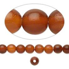 1 Strand Golden Horn Natural 6mm Round Beads  *
