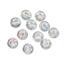 60 Aurora Borealis Clear Acrylic Transparent 6mm Round Beads
