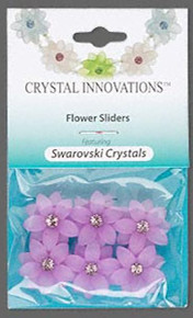 6 Frosted Purple Resin 2 Strand Spacer Flower Beads  Made with Swarovski Crystals *