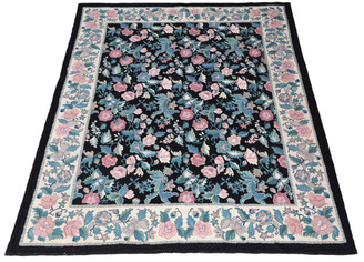 Large floral hand knotted Abusson wool rug