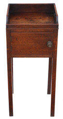 Georgian mahogany tray top bedside pot cupboard table cabinet