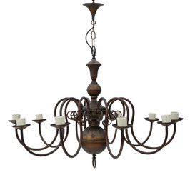 10 lamp bronze brass Flemish chandelier FREE DELIVERY