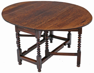 Georgian oak gateleg drop leaf dining table 5' x 4'