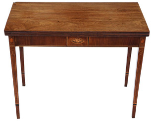 Georgian C1800 inlaid mahogany folding card tea console table